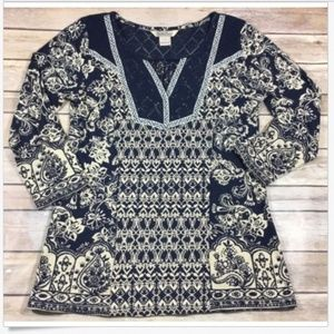 Lucky Brand V-Neck Lace Knit Boho Tunic Top Small